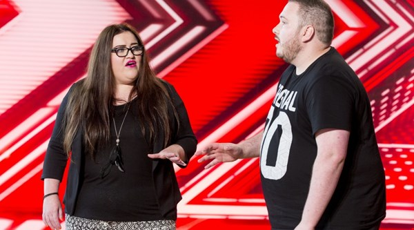 A couple sing Sex On Fire to X Factor judges