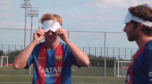 Some Barcelona stars took on Spain's blind Paralympic team, and Lionel Messi was still the greatest