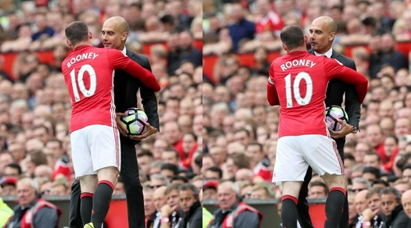 Was Wayne Rooney trying to get the ball off Pep Guardiola, or auditioning for Strictly?