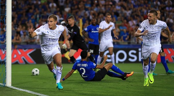 Marc Albrighton's fairy tale continues as he scores Leicester's first Champions League goal of all time