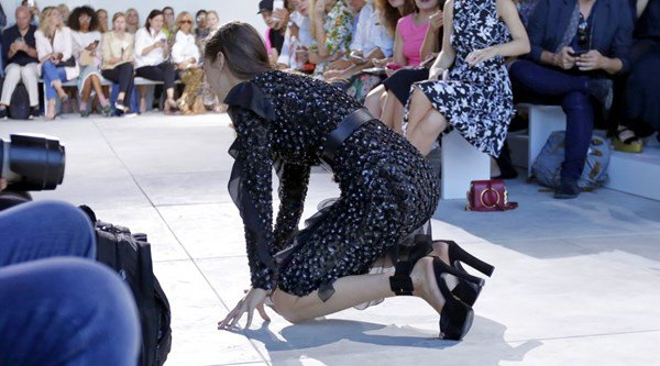 'Guys, I'm a break dancer now!' Bella Hadid falls over on NYFW runway… but handles it in the best way ever