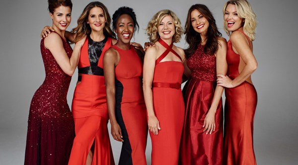 See Gemma Atkinson, Kate Thornton and Melanie Sykes sizzle in scarlet for charity