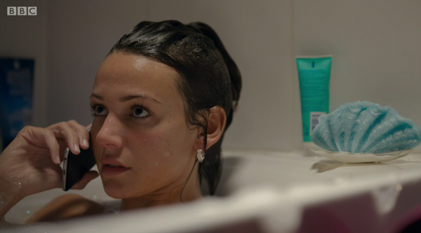 Michelle Keegan on her phone in the bath on Our Girl made for some nervous viewing