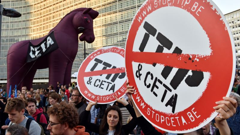 Protesters March in Brussels Against Transatlantic Free Trade Deals