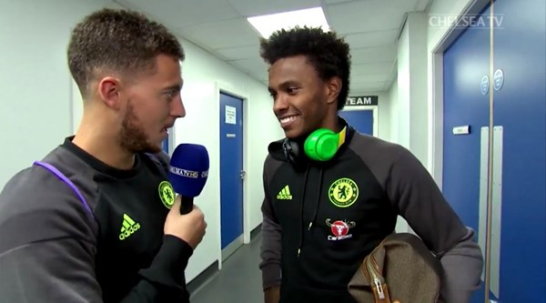 Eden Hazard persuades Willian to do an interview, conducts it himself, then grabs a word with Diego Costa as well