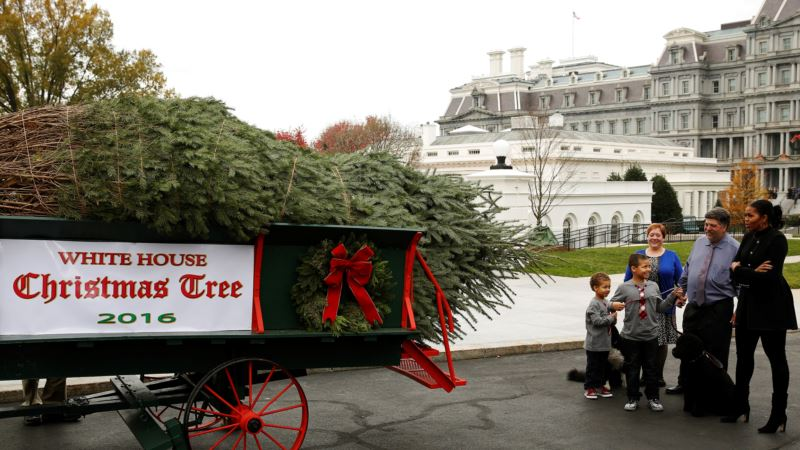 First Lady Greets Her Last White House Christmas Tree