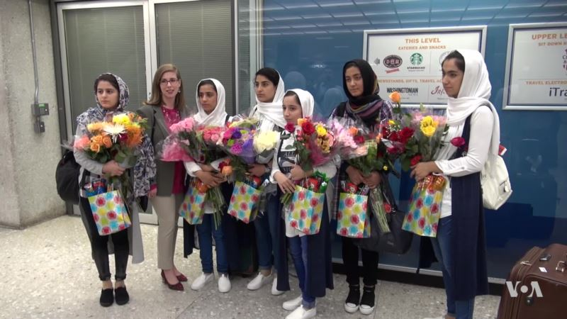 At First Denied Visas, Afghan Girls Robotics Team Arrives in US