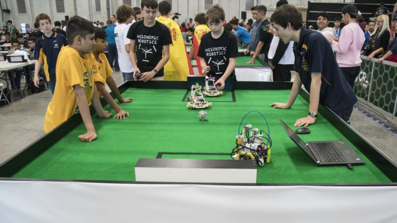 Bots Battle for Ball, and Globe, in Robot Olympiad