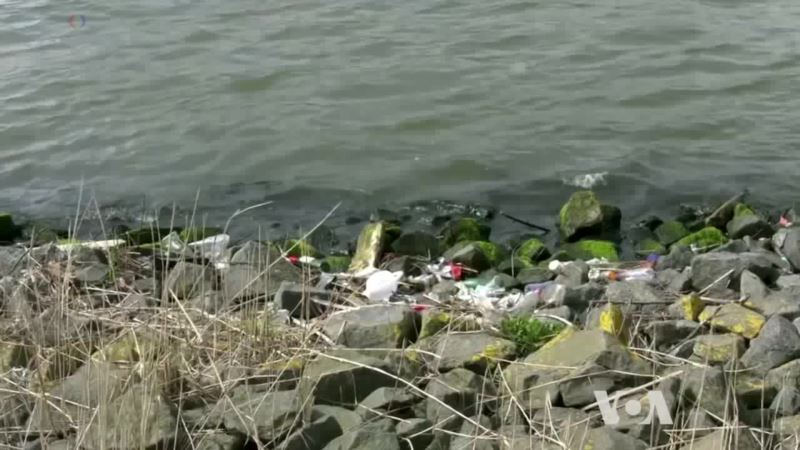 Bubble Barrier Stopping Plastic Trash in River Streams
