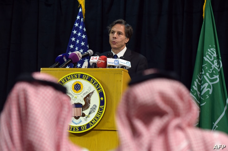 US Deputy Secretary of State Antony Blinken speaks during a press conference in the Saudi capital Riyadh on April 7, 2015. AFP…