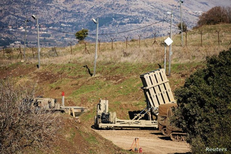 An Iron Dome anti-missile system is seen near the border area between Israel and Syria, in the Israeli-occupied Golan Heights…