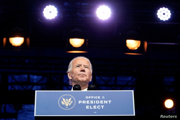 U.S. President-elect Joe Biden announces his national security nominees and appointees at his transition headquarters in…