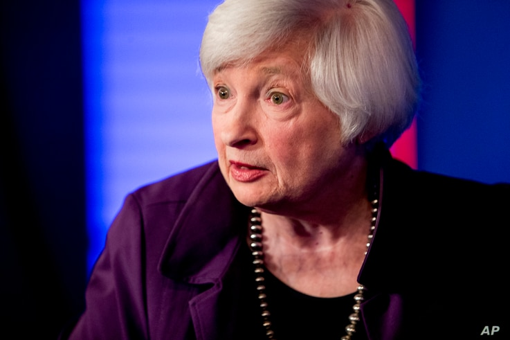 Former Fed Chair Janet Yellen appears for an interview with FOX Business Network guest anchor Jon Hilsenrath in the Fox…