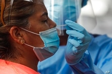 A woman gets tested for COVID-19 during a free, government testing campaign in Panama City, Friday, Jan. 15, 2021. Panama is…