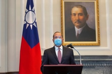 U.S. Health and Human Services Secretary Alex Azar speaks during a meeting with Taiwan's President Tsai Ing-wen, unseen, in…